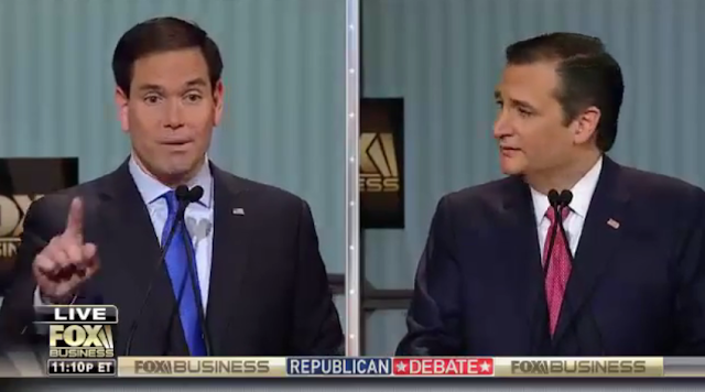 Marco Rubio Ted Cruz Fox Business debate splitscreen flip-flopper