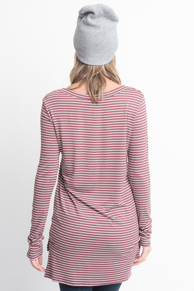 Shop for Red Brown Striped Long Sleeve Hi Lo Button Down Tunic Online on Caralase