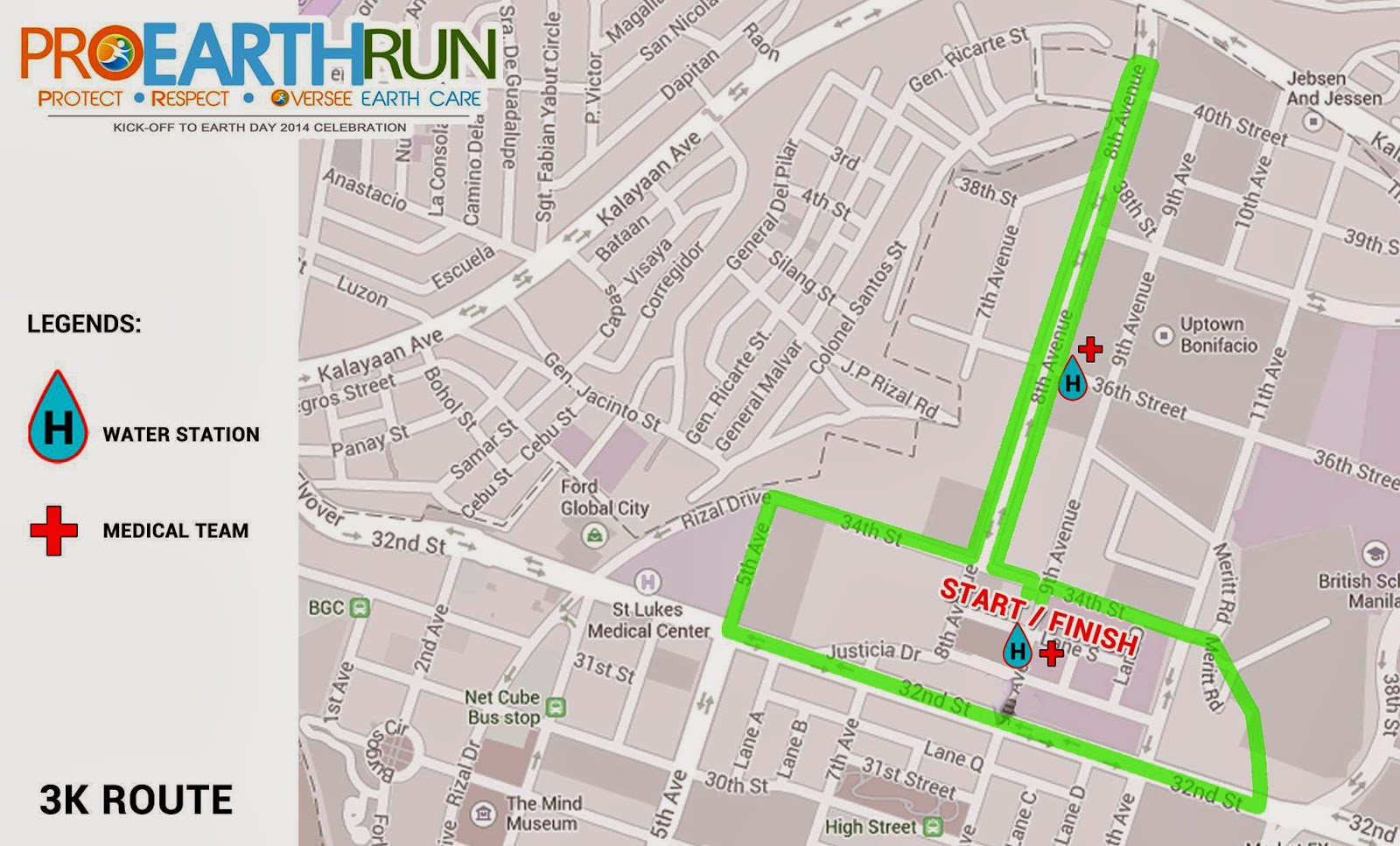Map of 3k Route for Pro Earth Run 2014