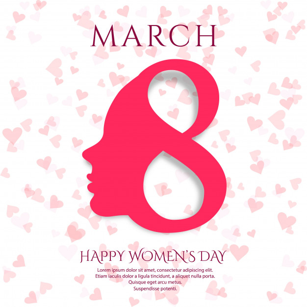 March 8 greeting card. Background for International Women's Day design Free Vector