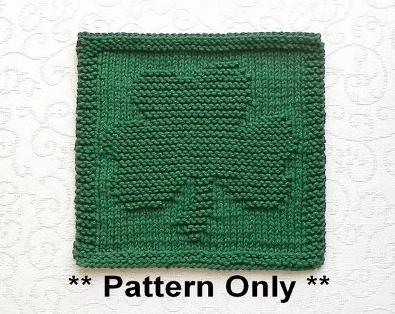 Knitted Shamrock Washcloth