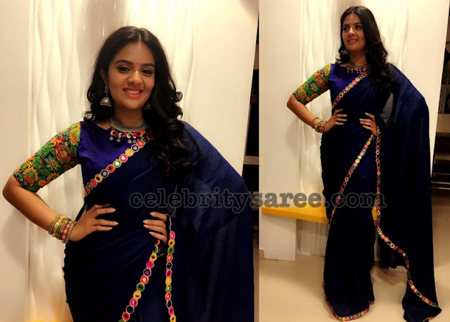 Sreemukhi Mirror Work Saree