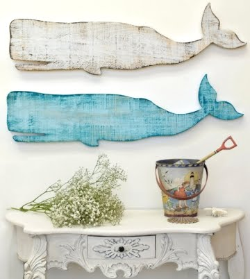 wooden whale wall decor