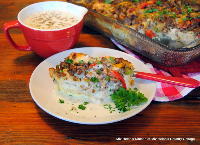 Sausage and Biscuits Breakfast Casserole With Pepper Gravy at Miz Helen's Country Cottage