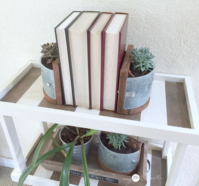 succulent planters as book ends