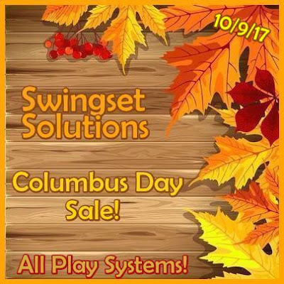Swing Set Sale! Columbus Day Celebration!