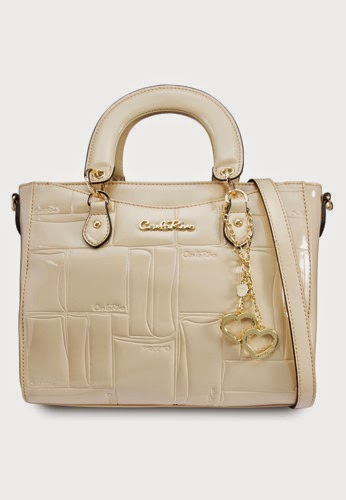 Carlo Rino Beige Patent Tote With Charms