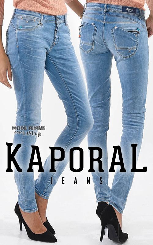 Jean slim femme délavé bleu clair Kaporal