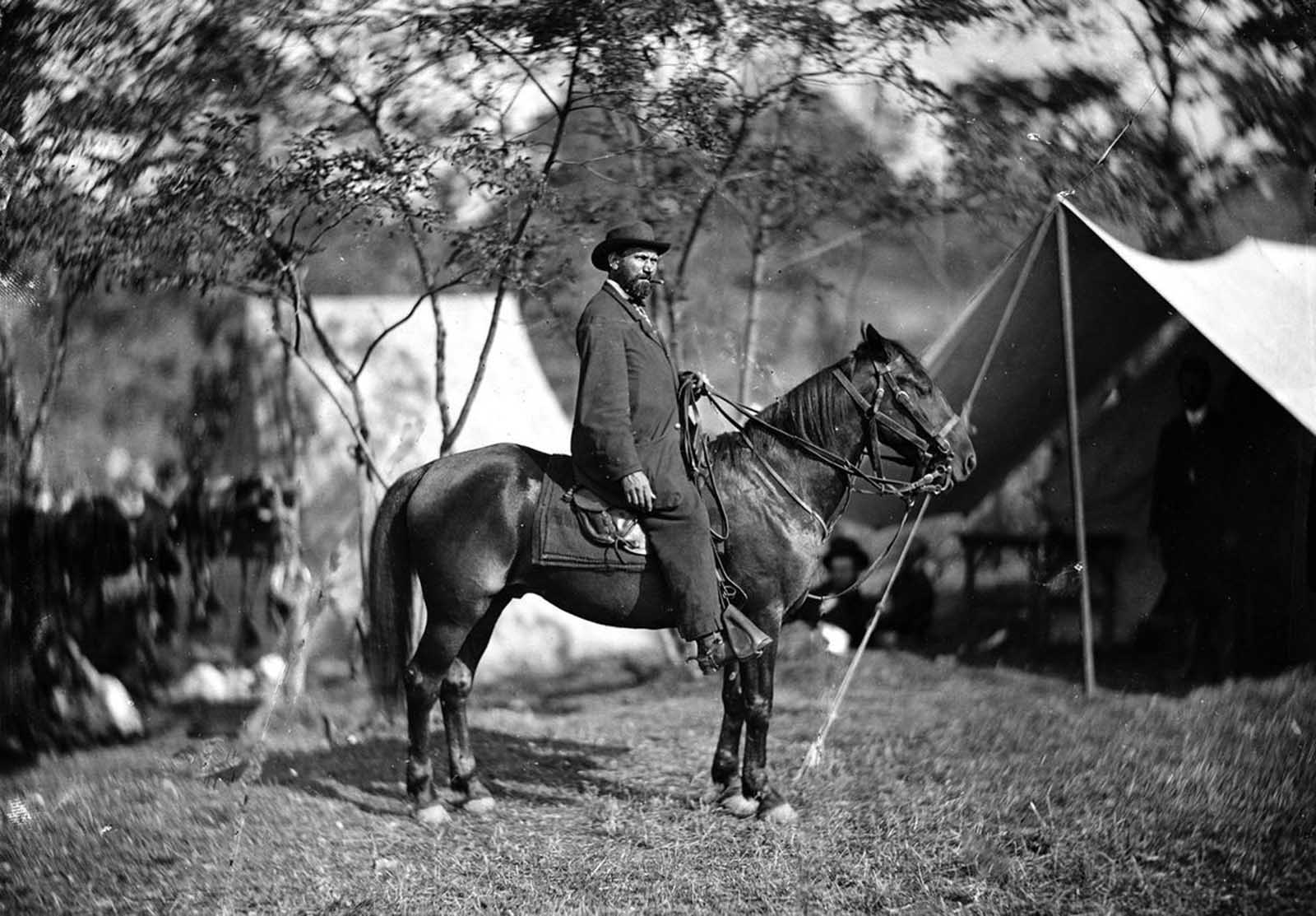 This September 1862 photo provided by the Library of Congress shows Allan Pinkerton on horseback during the Battle of Antietam, near Sharpsburg, Maryland. Before the outbreak of war, he had founded the Pinkerton National Detective Agency. In 1861, he famously foiled an alleged plot to assassinate president-elect Lincoln, and later served as the head of the Union Intelligence Service -- the forerunner of the U.S. Secret Service.