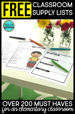 Classroom supply organization and a list of must have supplies for kindergarten, first grade, second grade, third grade, or upper elementary are included. Get storage ideas, signs, donations and more as well as a free printable.