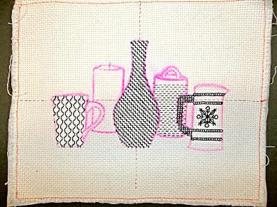 Blackwork embroidery, Step 4: the Birch Bark Box