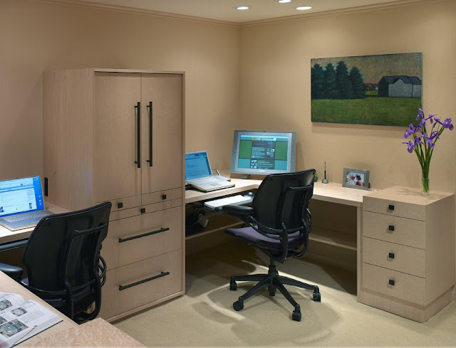 best buy home office desk two computers with cupboard and chairs