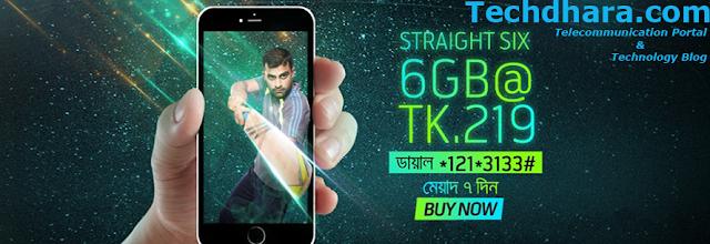 GP 6 GB internet data at 219 Taka for 7 days
