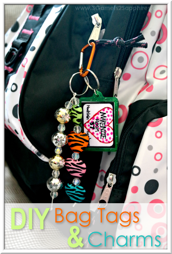 DIY Bag Tags & Beaded Bag Charms  |  3 Garnets & 2 Sapphires