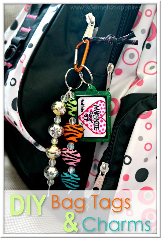 DIY Bag Tags & Beaded Bag Charms  |  3 Garnets & 2 Sapphires