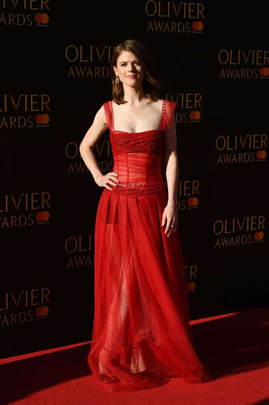 Rose Leslie shows off Dior boxers under sheer gown at the 2017 Olivier Awards in London