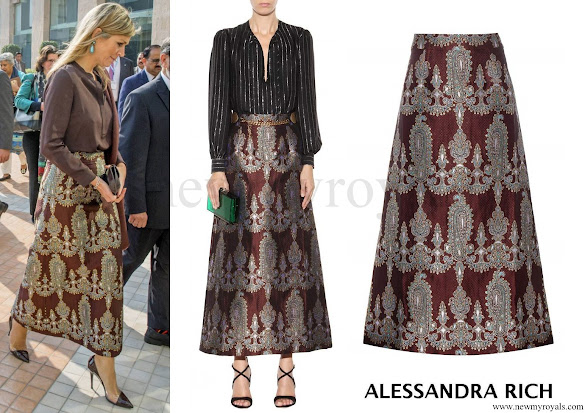 Queen Maxima wore ALESSANDRA RICH Printed Silk Blend Skirt