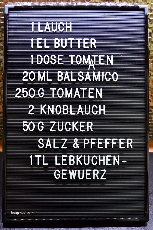 Einkaufsliste Tomaten-Lebkuchen-Chutney - Geschenke aus meiner Küche