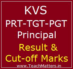 image : KVS PRT, TGT, PGT, Principal Result, Cut-off Marks 2017 @ TeachMatters