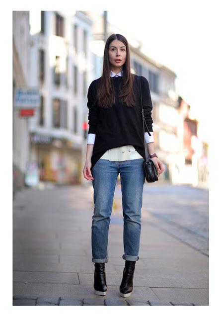 Белая рубашка с черным свитером