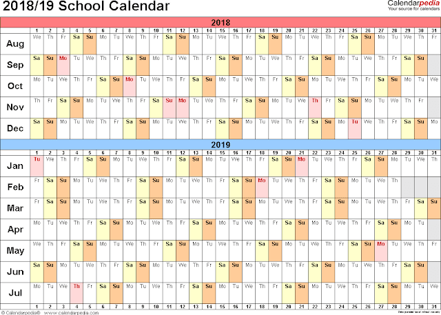 School Holiday Calendar 2018, School Calendar 2018, Academic Calendar 2018 Sheet, 2018 School Calendar