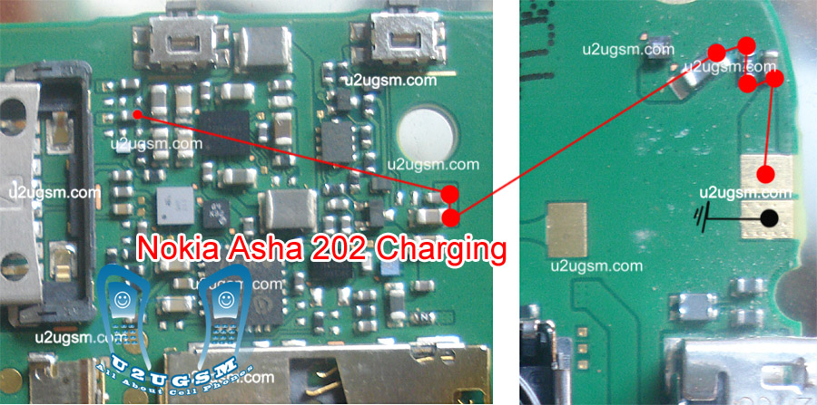 nokia asha 202 charging solution  Nokia Asha 202 Water Damage Charging Problem Solution Check this red mark line and make this jumper. solve your problem. Not Charging problem solution.  Download This Image