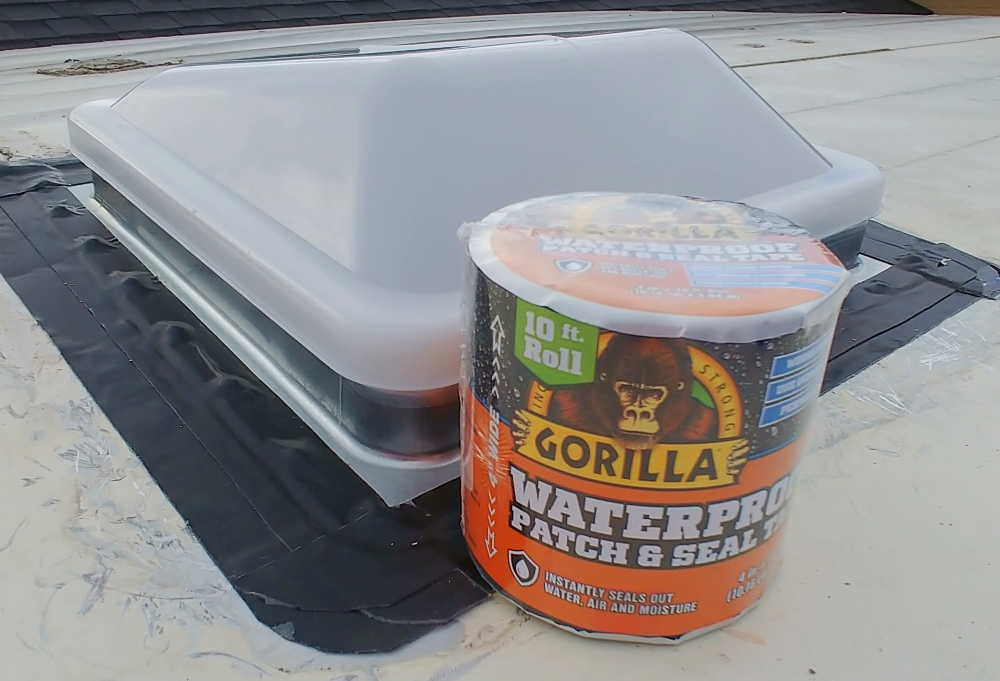 new roof vent and Gorilla Glue Waterproof Patch and Seal Tape