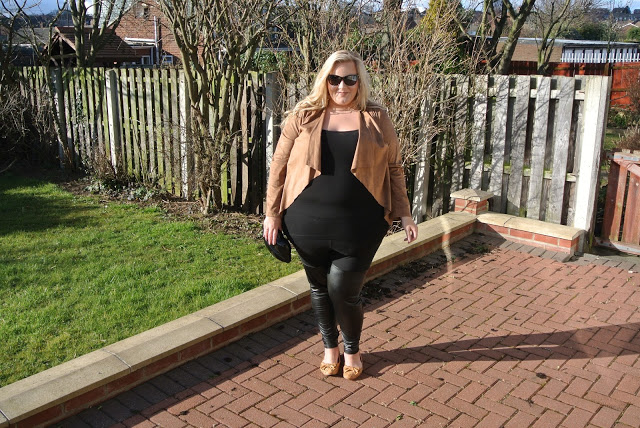 Evans Plus Size Blogger Tan Suedette Waterfall Jacket
