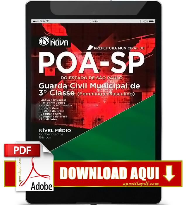Apostila Prefeitura de Poá SP 2016 PDF Download Guarda Municipal