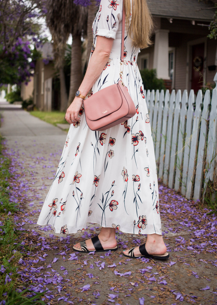 70s style maxi dress, pink Kate Spade bag