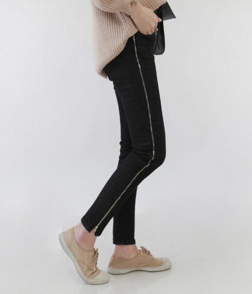 Zippered Side Skinny Pants