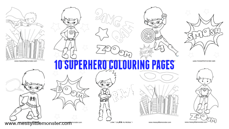 - Free Printable Superhero Colouring Pages - Messy Little Monster