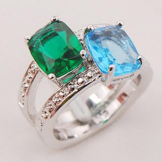 Nhẫn Aquamarine và Emerald