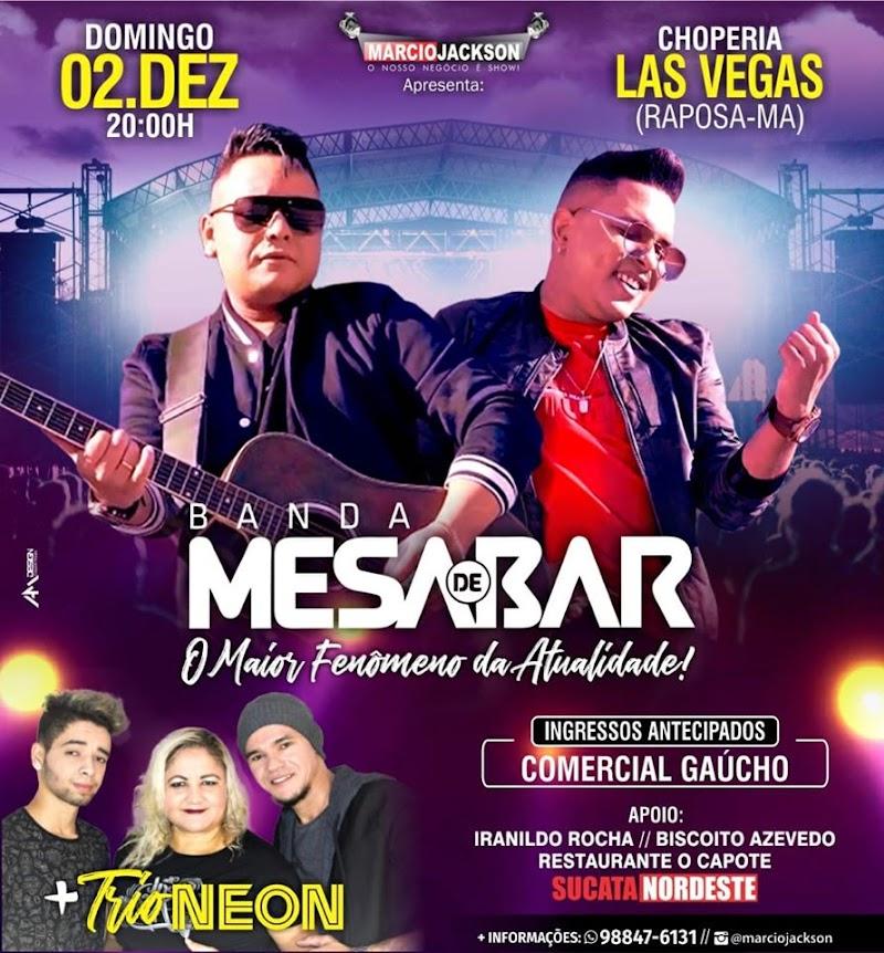 """É Hoje Banda Mesa de Bar neste domingo na Choperia Las Vegas """" Marcio Jackson"""""""
