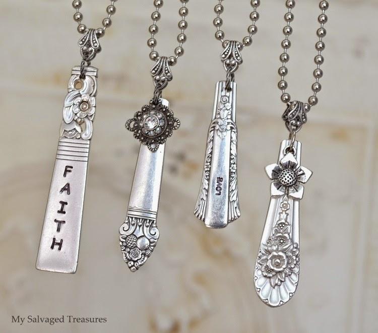 #mysalvagedtreasures repurposed silverware DIY necklaces