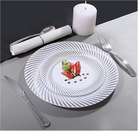 SUCCOS DEAL \ Looks Like Real\  Disposable Plates MyStyle Simcha Collection 50 plates for $21.99 on Amazon & Daily Cheapskate: SUCCOS DEAL: \
