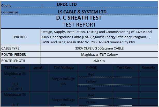Pre-commissioning and commissioning test format for HV Cable