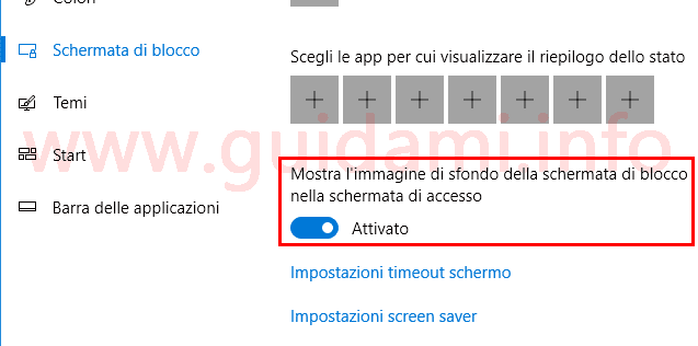 Opzione Windows 10 per usare sfondo schermata di blocco come sofndo schermata di accesso