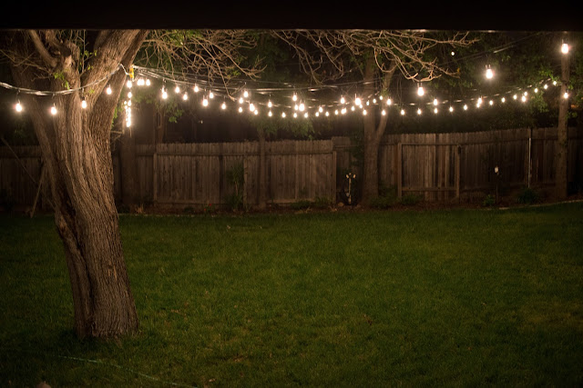 Putting up industrial vintage string lights in the backyard