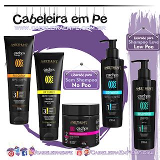Linha Cachos Therapy - Aneethun (Shampoo-Low Poo, Cowash-No Poo, Máscara-No Poo, Definidor-No Poo e Fixador-No Poo)