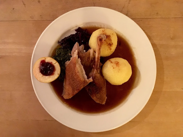 roast goose, cabbage and apples