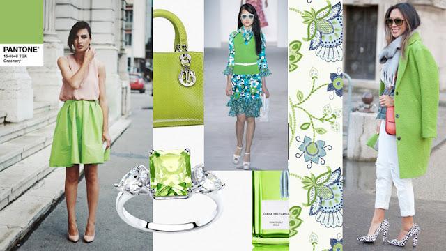 Цвет Pantone 2017 года Greenery в одежде и интерьере