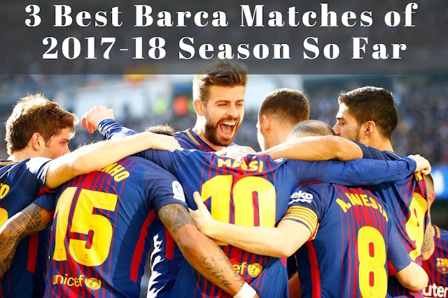 FC Barcelona players celebrating the victory of one of the best matches they played this season so far against Real Madrid