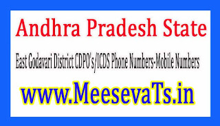 East Godavari District CDPO's/ICDS Phone Numbers-Mobile Numbers Andhra Pradesh State