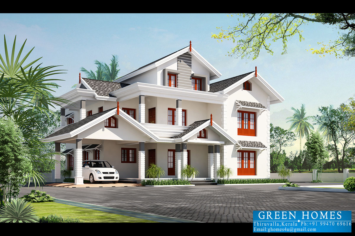 Green homes beautiful kerala home design 3500 for New houses in kerala