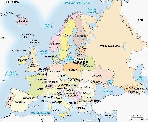 mapa da europa completo em portugues Fontes de Geografia: Mapa Politíco da Europa mapa da europa completo em portugues