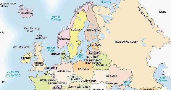 mapa europa e asia em portugues Fontes de Geografia: Mapa Politíco da Europa mapa europa e asia em portugues