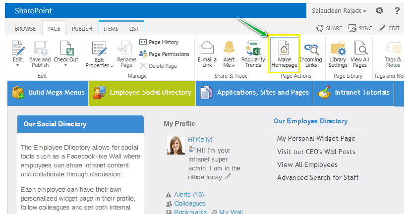 set default home page in sharepoint 2013 sharepoint diary rh sharepointdiary com