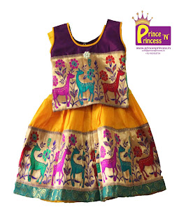 Kids Ethnic traditional pattu pavadai