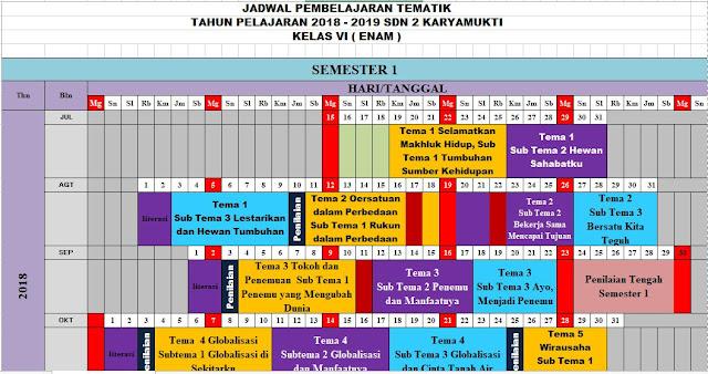 Jadwal Pelajaran Kurikulum 2013 SD Kelas 6 Semester 1 Tahun 2018-http://www.librarypendidikan.com/